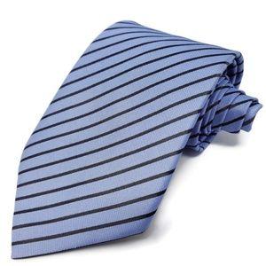 Hermes Paris Men's Blue Striped Tie 100% Silk